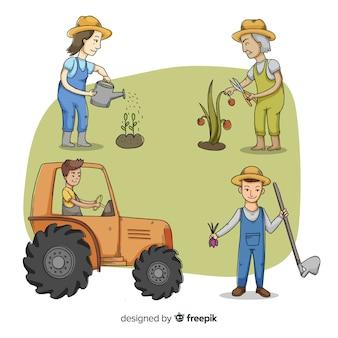Agricultores ilustrados que trabalham a coleção