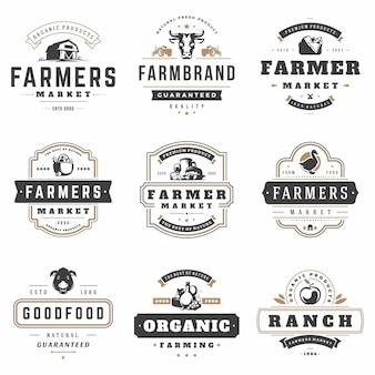 Agricultores mercado logotipos modelos vector conjunto de objetos.