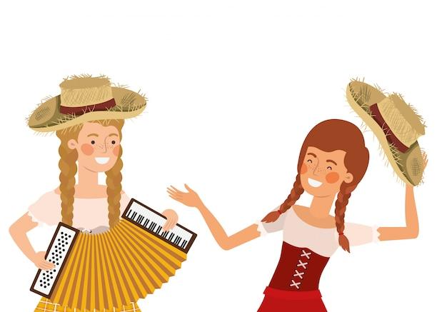 Agricultores mulheres com instrumentos musicais