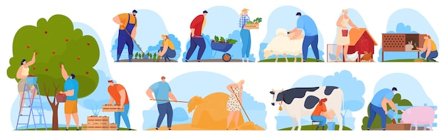 Agricultores na fazenda, trabalhadores agrícolas, colhem frutas e vegetais.