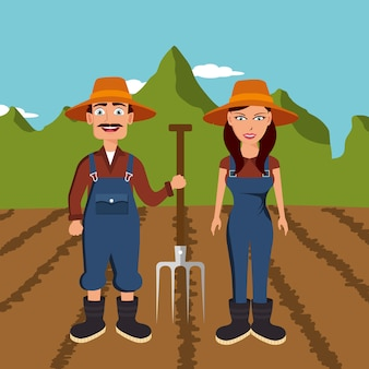 Agricultores nas colheitas