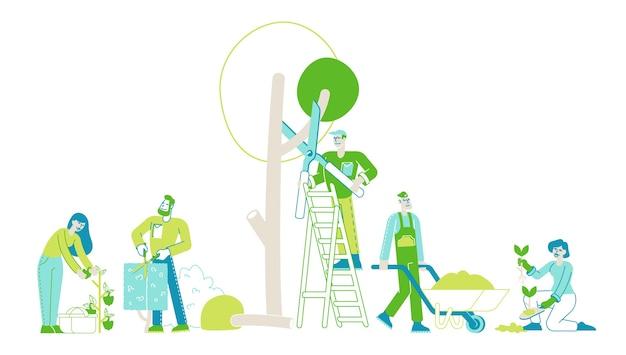 Agricultores ou jardineiros plantando podas e cuidados com árvores e plantas
