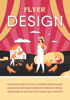Agricultores que trabalham na ilustração plana isolada de fazenda de frango. mulher dos desenhos animados e aves de criação de homem. modelo de folheto