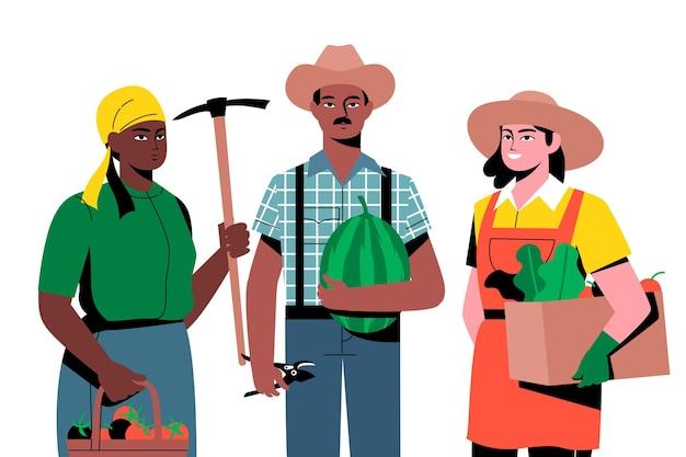 Agricultores segurando produtos diferentes
