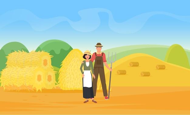 Agricultores trabalham em um campo de fazenda de trigo com aldeões montes de feno em pé com um forcado