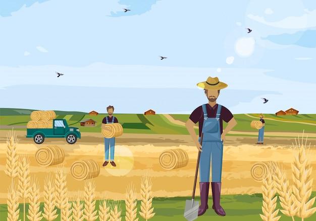 Agricultores trabalhando campos de feno
