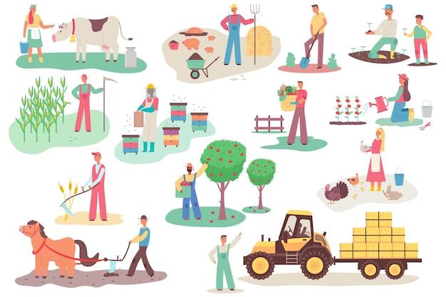Agricultores trabalhando na fazenda. homens e mulheres vector personagens de desenhos animados planos definidos em diferentes ações isoladas. ilustração de agricultura.