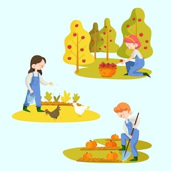Agricultores trabalhando para suas plantações e animais