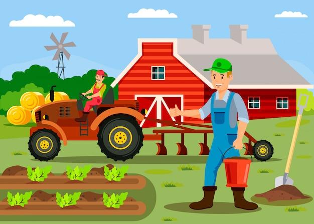 Agricultores trabalhando perto de personagens de desenhos animados de celeiro