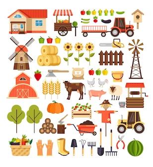 Agricultura, agricultura, colheita, natureza, agronomia, desenho animado, símbolo, ícone, isolado, conjunto