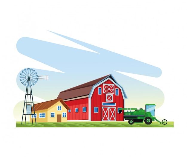Agricultura caminhão casa celeiro moinho de vento
