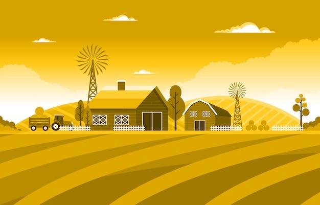 Agricultura campo trigo fazenda rural natureza cena paisagem ilustração