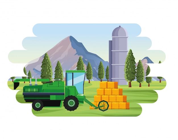 Agricultura combinador agricultura fardos de feno silo e árvores paisagem