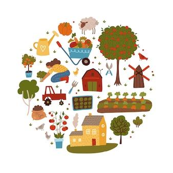 Agricultura de fazendeiro e conceito de forma redonda de cultivo
