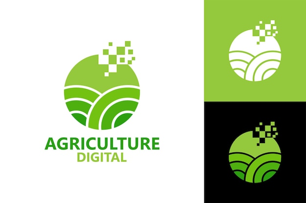 Agricultura digital pixel logotipo modelo vetor premium