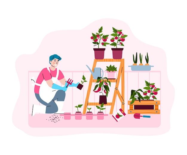 Agricultura e jardinagem na varanda verde da cidade, uma ilustração vetorial isolada
