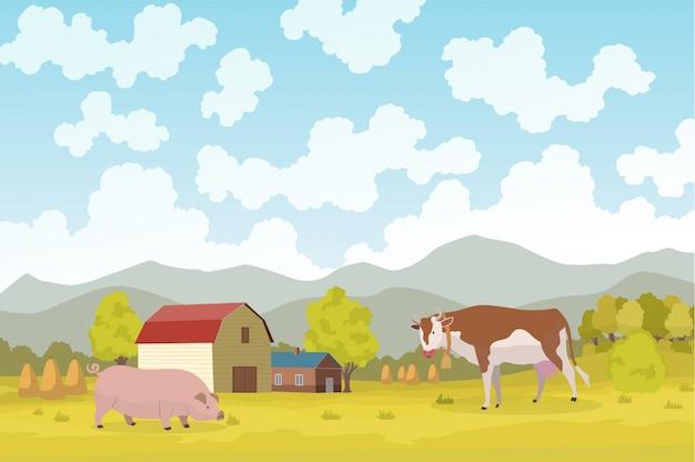 Agricultura ecológica. prado ilustração eco agricultura conceito natural. agricultura ecológica verde. paisagem de fazenda dos desenhos animados. campo com construção de agricultores e animais