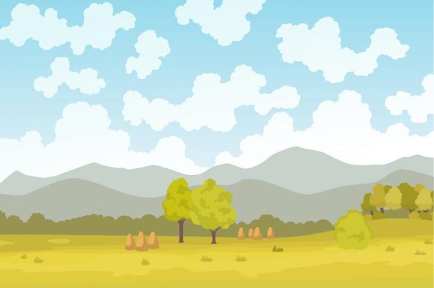 Agricultura ecológica. prado ilustração eco agricultura conceito natural. agricultura ecológica verde. paisagem de fazenda dos desenhos animados