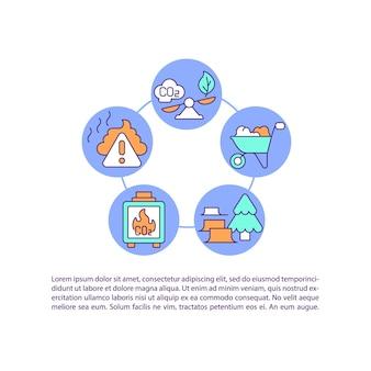 Agricultura, ícones de linha de conceito de emissões florestais com texto