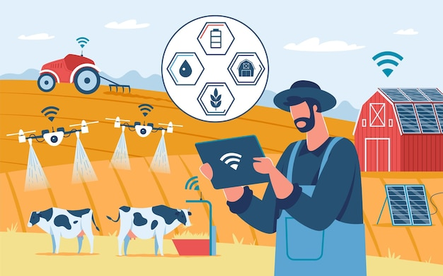 Agricultura inteligente tecnologia inovadora drones agrícolas eco energia solar fazenda agricultura automação