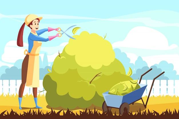 Agricultura, jardinagem, aparando o conceito de voluntariado