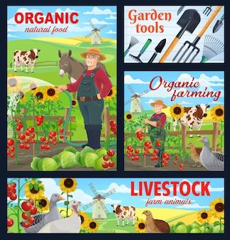 Agricultura orgânica, animais de fazenda e ferramentas de jardim