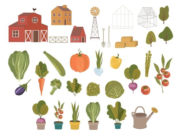 Agricultura orgânica e conjunto de vegetais. legumes bonitos, plantas, ferramentas de jardinagem e outros elementos gráficos em desenhos animados elegantes