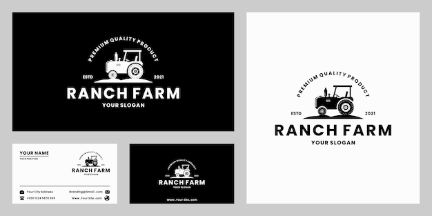 Agricultura, rancho, criação de gado, design de logotipo agrícola, estilo retro