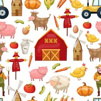 Agricultura sem costura padrão com animais e produtos agrícolas