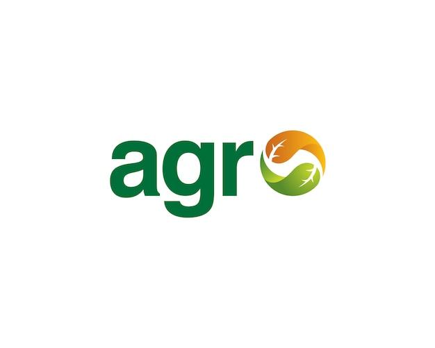 Agro wordmark com folhas equilibradas