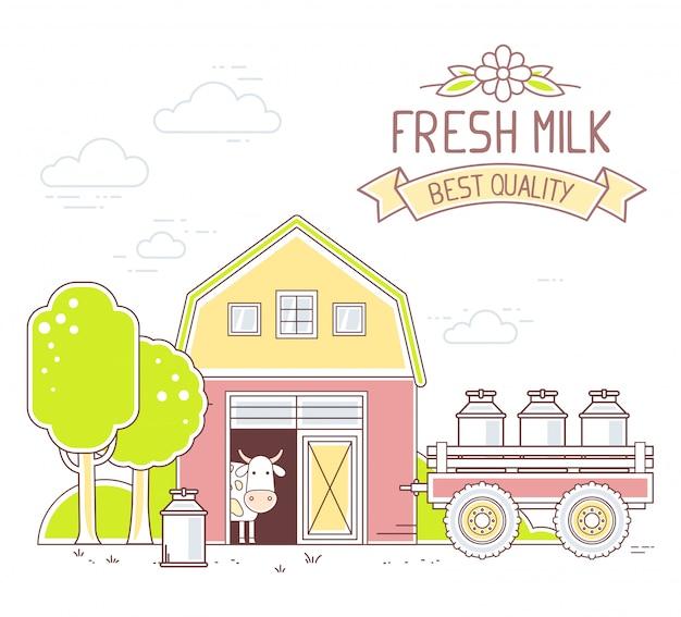 Agronegócio. ilustração da vida na fazenda de leite colorido com economia natural no fundo branco. paisagem da vila.