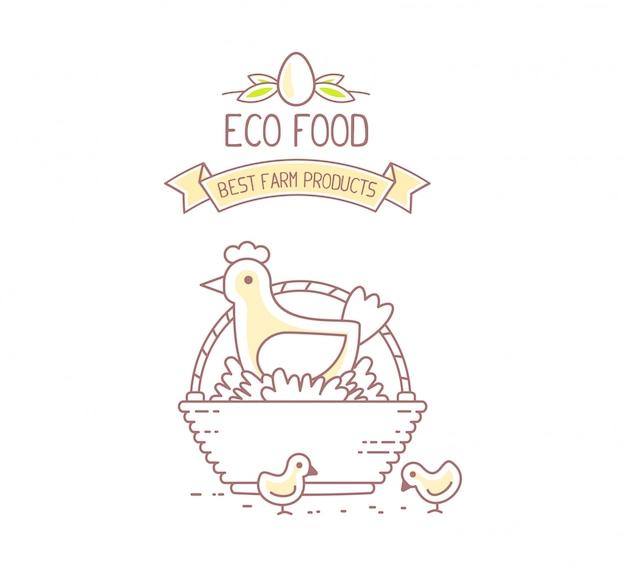 Agronegócio. ilustração do produto natural da fazenda de galinhas no fundo branco. conceito de comida ecológica. melhor produto agrícola.