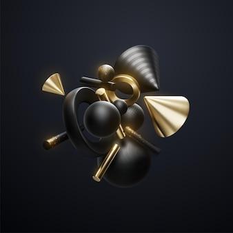 Agrupamento de formas geométricas abstratas em preto e dourado