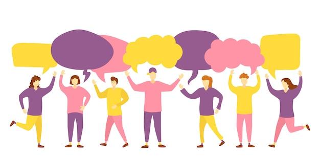 Agrupe caracteres com bolhas de comunicação. balões de fala. bate-papo em grupo de pessoas. trabalho em equipe. mensagem. ícones da mulher e equipa com bolhas do discurso de diálogo colorido.