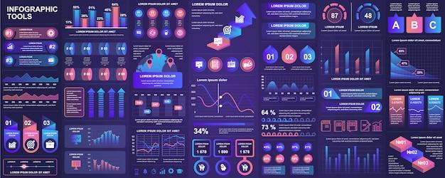 Agrupe elementos de interface do usuário, ux, kit com gráficos, diagramas, fluxo de trabalho, fluxograma, linha do tempo, estatísticas on-line, modelo de elementos de ícones de marketing. conjunto de infográficos.