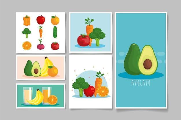 Agrupe frutas e legumes saudáveis