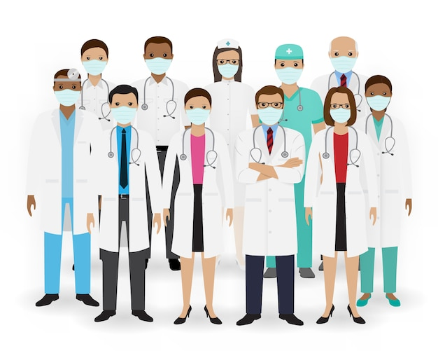 Agrupe médicos, enfermeiros e paramédicos em máscaras. equipe médica. pessoal do hospital.