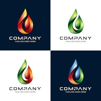Água 3d, chama, logotipo da folha