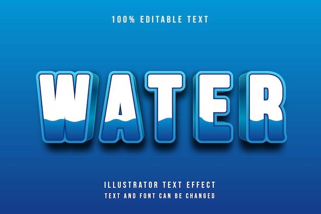 Água, 3d editável gradação azul efeito de texto azul suave estilo moderno sombra