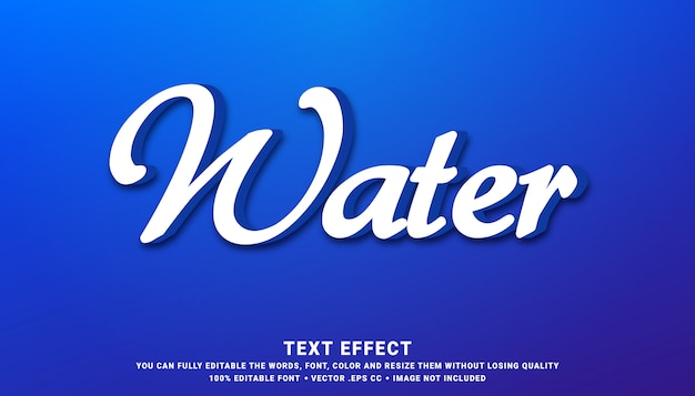 Água azul - efeito de estilo de texto editável
