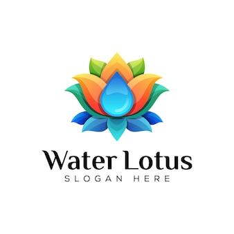 Água colorida com conceito de logotipo de lótus