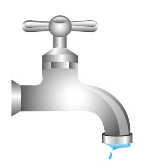 Água da torneira isolada sobre ilustração vetorial de fundo branco