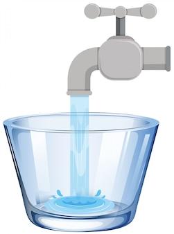 Água da torneira no vidro