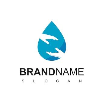 Água dando logotipo com símbolo de mão