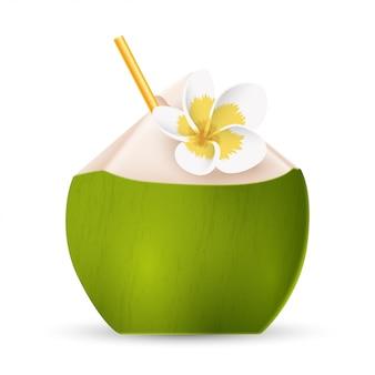 Água de coco com palha e flor branca isolada. ilustração