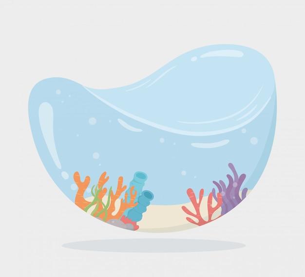 Água de coral de corais em forma de tanque para peixes em ilustração em vetor mar dos desenhos animados