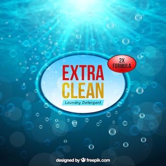 Água de fundo e detergente de bolhas