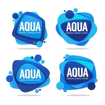 Água de nascente natural, logotipo de vetor, etiquetas com gotas de água