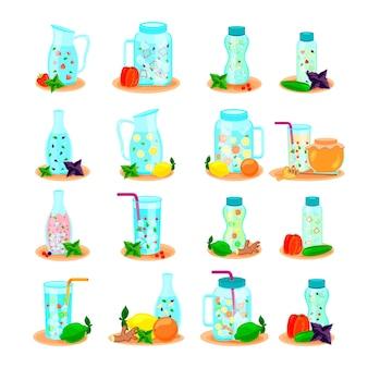 Água desintoxicante em garrafas de bebida, jarra, coleção de ícones planos com limão, mel, hortelã