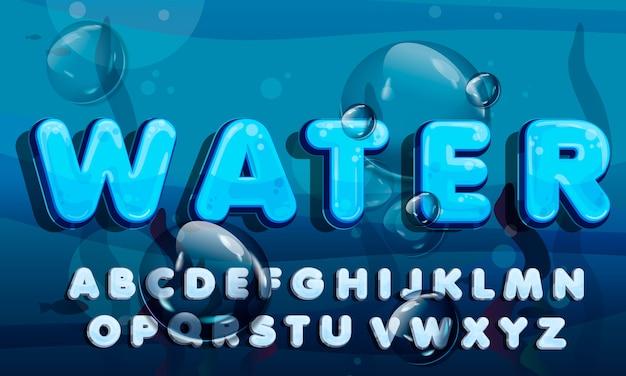 Água dos desenhos animados cai fonte, alfabeto azul engraçado